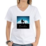 Nightsky Poodle Women's V-Neck T-Shirt