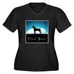 Nightsky Great Dane Women's Plus Size V-Neck Dark