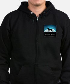 Nightsky Great Dane Zip Hoodie (dark)