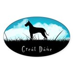 Nightsky Great Dane Sticker (Oval 50 pk)