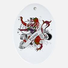 Fraser Tartan Lion Ornament (Oval)