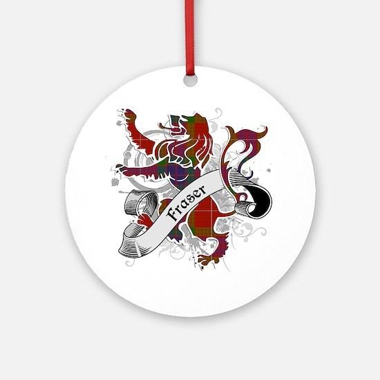 Fraser Tartan Lion Ornament (Round)