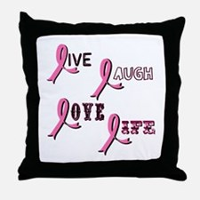Breast Cancer Awareness Ribbo Throw Pillow