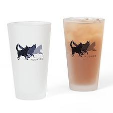 Running Huskies Drinking Glass