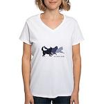 Running Huskies Women's V-Neck T-Shirt