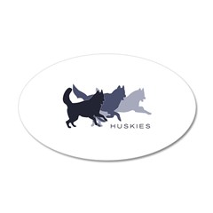 Running Huskies 22x14 Oval Wall Peel