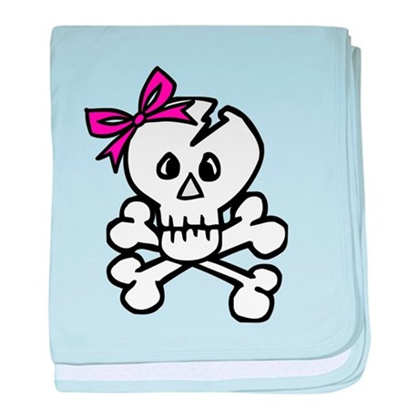 Skull with Pink Bow baby blanket