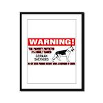 German Shepherd Warning Framed Panel Print