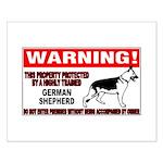 German Shepherd Warning Small Poster