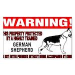 German Shepherd Warning Sticker (Rectangle 50 pk)
