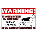 German Shepherd Warning Sticker (Rectangle 10 pk)