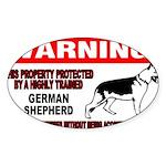 German Shepherd Warning Sticker (Oval 10 pk)