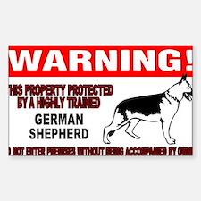 German Shepherd Warning Sticker (Rectangle)