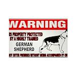 German Shepherd Warning Rectangle Magnet (100 pack