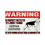 German Shepherd Warning Rectangle Magnet