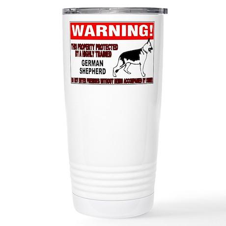 German Shepherd Warning Stainless Steel Travel Mug