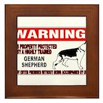German Shepherd Warning Framed Tile