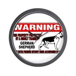 German Shepherd Warning Wall Clock