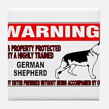 German Shepherd Warning Tile Coaster