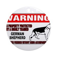 German Shepherd Warning Ornament (Round)