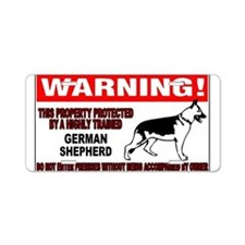 German Shepherd Warning Aluminum License Plate