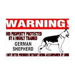 German Shepherd Warning 38.5 x 24.5 Wall Peel