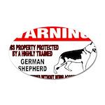 German Shepherd Warning 38.5 x 24.5 Oval Wall Peel