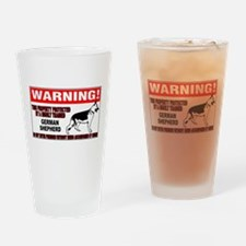 German Shepherd Warning Drinking Glass