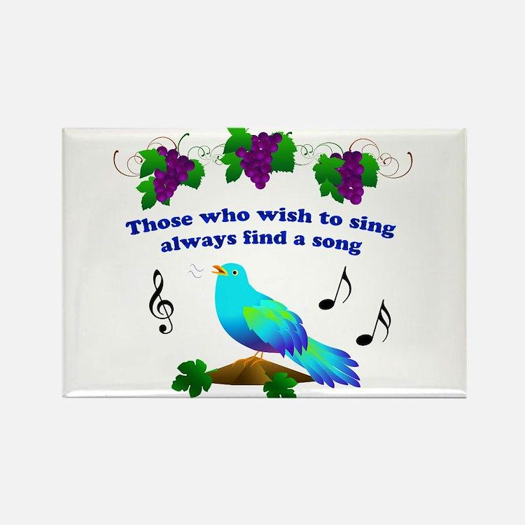 Singing Bluebird Rectangle Magnet