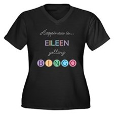 Eileen BINGO Women's Plus Size V-Neck Dark T-Shirt