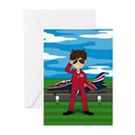 Red Arrow Pilot and Jet Greeting Cards (Pk of 20)