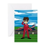 Red Arrow Pilot and Jet Greeting Card