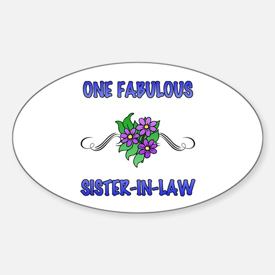 Fabulous Floral Sister-In-Law Sticker (Oval)