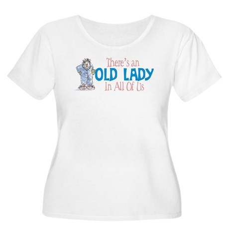 Old Lady Coffee Women's Plus Size Scoop Neck T-Shi