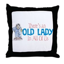 Old Lady Coffee Throw Pillow