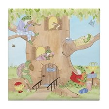 Frogs in Tree House Tile Coaster