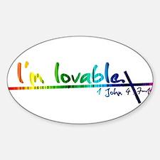 Unique Rainbow cross Sticker (Oval)