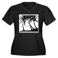 TROPICAL {4} Women's Plus Size V-Neck Dark T-Shirt