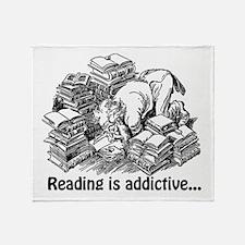 Reading is Addictive Throw Blanket