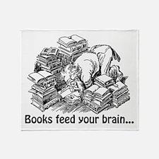 Books Feed Your Brain Throw Blanket