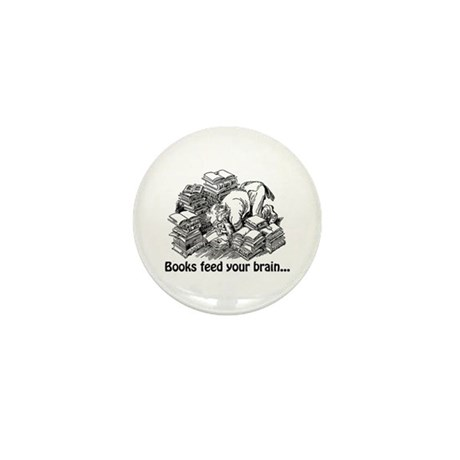 Books Feed Your Brain Mini Button (10 pack)