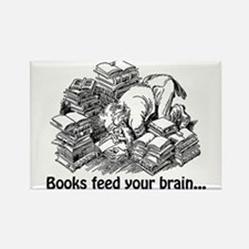 Books Feed Your Brain Rectangle Magnet