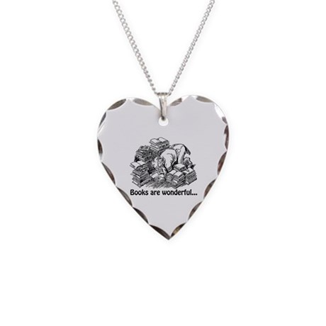 Books Are Wonderful Necklace Heart Charm