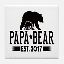 Papa Bear Est. 2017 Tile Coaster