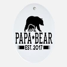 Papa Bear Est. 2017 Oval Ornament