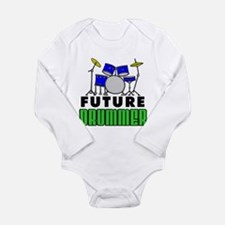 Future Drummer (Blue) Long Sleeve Infant Bodysuit