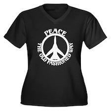 FB-111 Peace Plane Women's Plus Size V-Neck Dark T