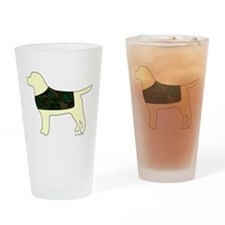 Yellow Lab - Camo Vest Drinking Glass