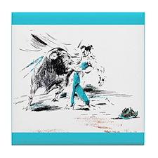 Torero and Toro Corrida Art Tile Coaster