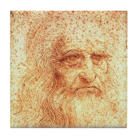 Leonardo Da Vinci Self Portrait Art Tile Coaster